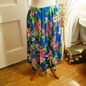 ⛏Vintage💋Tropical Punch Pleated Skirt